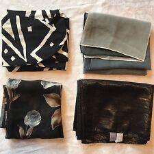 4 Vintage Scarves Black White Metallic Rose Scarf Lot Cejon Woodward Lothrop