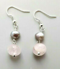Grey freshwater cultured pearl & rose quartz earrings .. gemstone pink jewelry