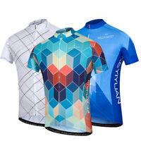 Men's Cycling Jersey Short Sleeve Cycle Shirts Top with Reflective Zip Pocket