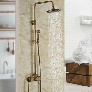 Antique Brass Wall Mounted Bathroom Shower Mixer Tap Set Rainfall Shower Handhel