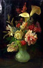 VASE ET FLEURS. HUILE  SUR TOILE. RICARD M(ARTI AGUILÓ). ESPAGNE. CIRCA 1880