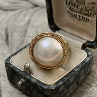 Huge 14ct Yellow Gold Pearl Ring, Vintage 14k Mabe pearls, 5.4 grams, UK L