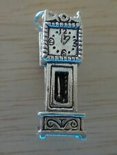 1 Sterling Silver 3D 25x8mm Movable Grandfather Clock with mouse inside Charm!