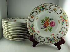 Twelve Noritake Dresden/Dresalda 3849 China Rim Soup Bowls - Floral, Gold