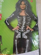 Sz 20-22 Skeleton Bones Costume Womens Ladies Halloween Fancy Tube Dress Outfit