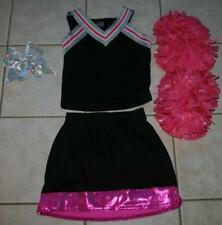 Pink Black Sparkles Cheerleader Costume Outfit Deluxe Pom Poms Bow 12 14 Girls