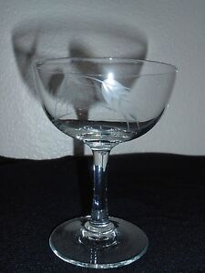 Vintage Etched Crystal Champagne Sherbet Glass Wheat Design NICE! FREE SHIPPING!