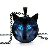 Black Nordic Wiccan Wolf Necklace Wiccan Wolf Pendant Chain Necklace Jewelry One