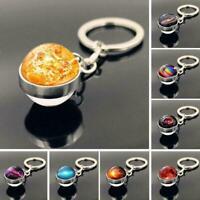 NEU Globus Schlüsselanhänger Schlüssel Anhänger 13 Kugel Glas Metall Planet X1Z0