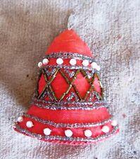 "Small Silk Soft Sculpture Christmas Bell Ornament, Beads & Pearls! 3 x 2 1/2"""