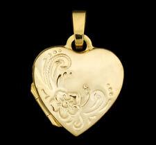 ECHT GOLD *** Kleines Herz Medaillon gemustert