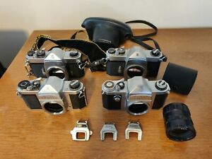 4 Asahi Heiland Honeywell cameras: Asahi Pentax AP, Spotmatic (x2), H3