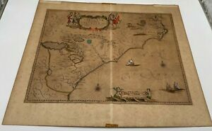 Antique 1650 Blaeu Hand Colored Map Florida Virginia Atlantic Ocean - ORIGINAL!!