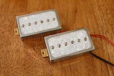 HUMBUCKER SIZED P90 PICKUP SET ALNICO 5 MAGNETS WHITE PEARLOID ENCASED IN CHROME