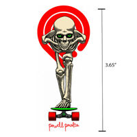 "Powell Peralta Tucking Skeleton Die Cut White Skateboard Sticker Decal 3.65"" New"