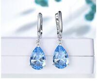 Blue Topaz Pear Cut Drop Dangle Women's Clip Earrings 3.Ct 14k White Gold Over
