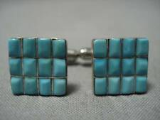 Sterling Silver Cufflinks Cuff Links Amazing Vintage Navajo Turquoise Inlay