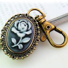 Kamee Gemme ROSE Gothic Uhr Taschenuhr Taschen Schlüsselanhänger Pocket Watch
