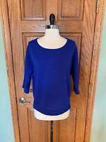 Chicos Shirt Sz 1 Medium Royal Blue Lace Dolman Sleeve Blouse Top 3/4 Sleeve