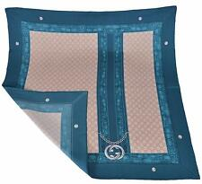 New Gucci 327374 Teal and Beige GG Guccissima Charm Silk Twill Neck Scarf