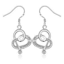 925 Sterling Silver Zirconia Leaf Symbol Drop Dangle Earrings Women Jewelry Gift