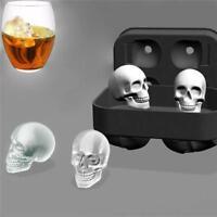 Silicone Ice Cube Whiskey 3D Skull Brick Maker Mold Halloween Party Tray QK