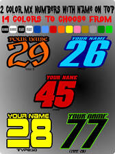 CUSTOM 2 COLORS NAMED MOTORCYCLE NUMBER PLATE DECALS MOTOCROSS STICKERS MX SX YZ