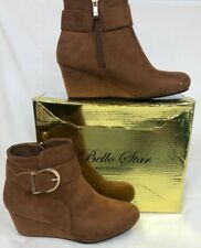 Ladies Boots Size 6 Bello Star Suede Wedge Brown Leather Size Uk 6 Eu 39 #150