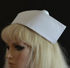 PLAIN WHITE FABRIC NURSE HAT - 2 buttons VINTAGE STYLE WW2 medical staff cap
