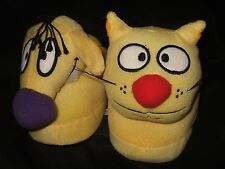 Nwt Women's Med 7-8 Cat Dog Nickelodeon Cartoon Character Plush Slippers Catdog