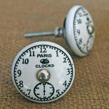 Clock Face Ceramic Cabinet Door Knob   Paris Clocks Timepiece Porcelain Handle
