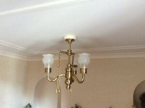 Dolls House Miniature Wood & Wool 3 Armed Chandelier from The Singing Tree
