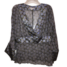 ICE Women's XL Blue Flower Kimono Style Top Japanese Floral Shirt Sheer X Large