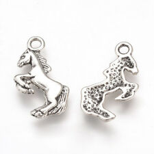 4 Horse Charms Antique Silver Equestrian Pendants Mustang Findings