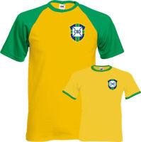 Brazil Football T-Shirt Mens Unisex Top Pele Retro Brazilian Soccer World Cup