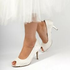 Cosmos Ivory Lace Peep Toe Mid Kitten Heel Wedding/Bridal Shoes UK 3/36 UK 4/37