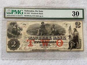 1857 Waubeek Bank, De Soto Nebraska  $2 Two Dollars PMG Certified