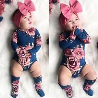 2PCS Newborn Baby Girls Flower Romper Bodysuit +Leg Warmers Set Outfits Clothes