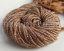 """12.5"""" AAA NATURAL ZIRCON faceted gem stone rondelle beads 2 - 2.5mm taupe brown"""