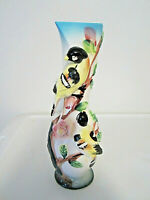 Vintage hand painted birds and flowers bud vase porcelain 8""