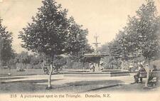 STATUE WATER FOUNTAIN TRIANGLE DUNEDIN NEW ZEALAND POSTCARD (c. 1907)