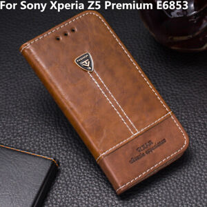 For Sony Xperia Z5 Premium E6853 Flip Leather Shockproof Cover Stand Wallet Case