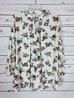 UMGEE USA Boutique White Floral Spring Tunic Top Shirt Blouse Women's M Medium