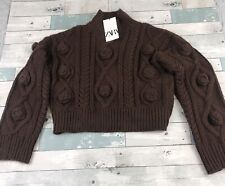 Zara Crop Wowen Cable Knit Relaxed Brown Sweater Size Small