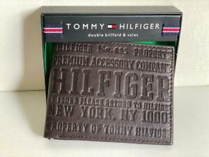 NEW TOMMY HILFIGER BROWN GENUINE LEATHER DOUBLE BILLFOLD & VALET WALLET $48 SALE