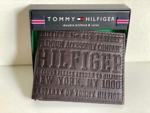NEW TOMMY HILFIGER BROWN GENUINE LEATHER DOUBLE BILLFOLD & VALET WALLET $48 SALE