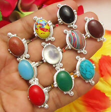 GOLDSTONE CALSILICA CHALCEDONY CORAL & MIX GEMSTONE SILVER PLATED 10PCS RING