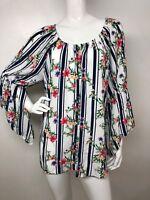Women's 2X White Multi/C Floral Stripe Peasant Blouse Boho Top Shirt Tunic NWT