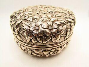 Antique Sterling Silver Floral Repousse Vanity Powder Dresser Box Jar