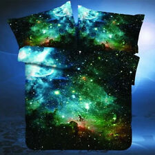 HOT 3 in1 3D Galaxy Single Bedding Set Duvet Cover Outer Space Sheets 1 Pillow